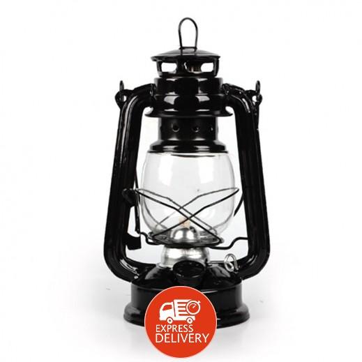 فانوس رمضان مع مصباح كيروسين - أسود