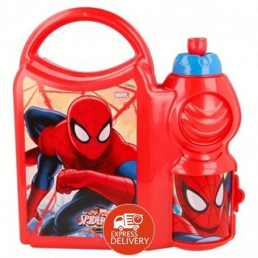 حقيبة طعام كومبو مع زجاجة للمياه 400 مل - تصميم سبايدرمان