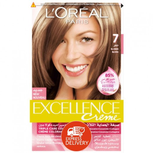 """لوريال باريس – صبغة شعر بكريم """"Excellence"""" رقم 7 بلون أشقر"""