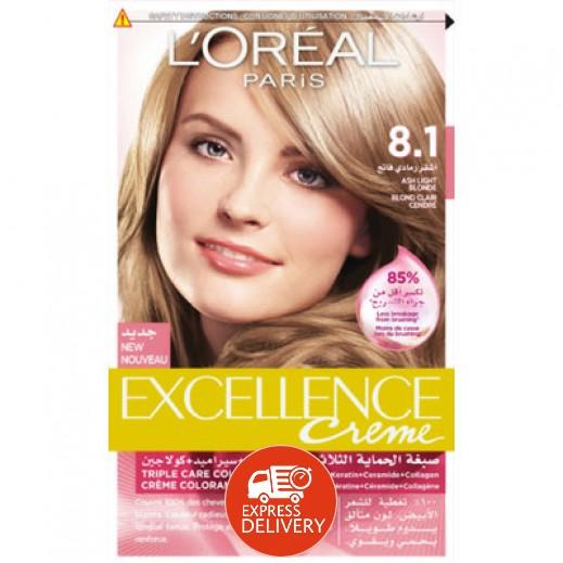 """لوريال باريس – صبغة شعر بكريم """"Excellence"""" رقم 8.1 بلون أشقر رمادي فاتح"""