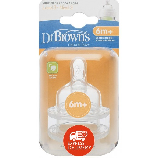 دكتور براونز – حلمة رضاعة بعنق واسع من السيليكون مستوى 3 (+6 أشهر) – 2 حبة