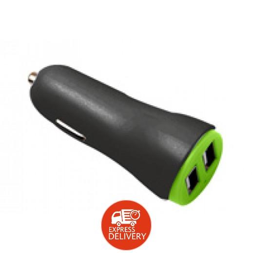 جوي - شاحن سيارة 2 منافذ USB مع كيبل Lightning - اسود