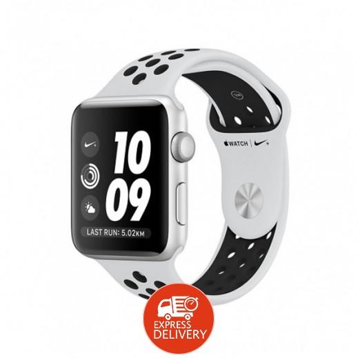 ساعة ذكية +Apple Watch Nike الفئة 3 إطار ألومنيوم فضي مع حزام Nike الرياضي بلاتيني و أسود قياس 42 مم