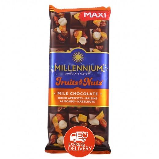 ميلينيوم - شوكولاته بالحليب محشوة باللوز والبندق الكامل والمشمش والزبيب 140 جم