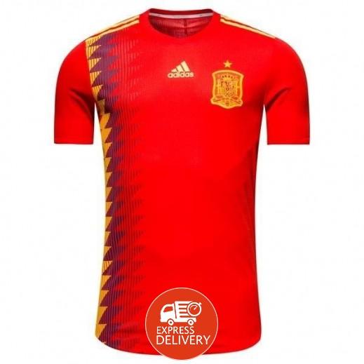 أديداس - تى شيرت منتخب اسبانيا في كاس العالم 2018 لكرة القدم – صغير مقاس 128-164 سم