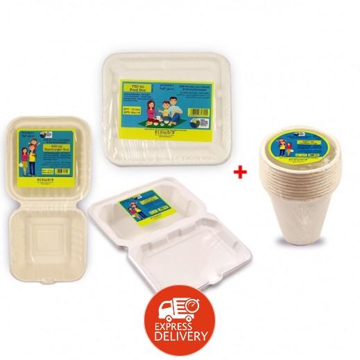 إيكووير - طقم أوعية طعام قابل للتحلل 3 حبة + طقم أكواب قهوة 220 مل مجاناً