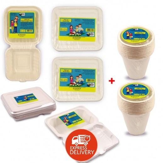 إيكووير - طقم أوعية طعام مربع قابل للتحلل 5 حبة + 2 طقم أكواب قهوة 220 مل مجاناً