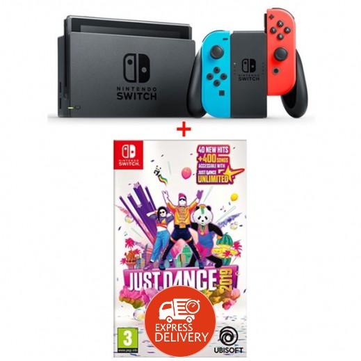جهاز نينتندو SWITCH مع JOY-CON ازرق و احمر + لعبة Just Dance 2019 – نظام PAL