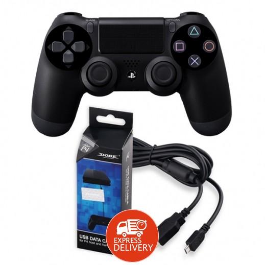 Sony – يد تحكم لاسلكية Dualshock 4 + كيبل نقل بيانات USB لجهاز بلاي ستيشن 4