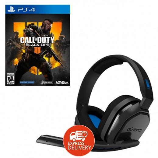لعبة Call of Duty Black Ops 4 لبلاي ستيشن 4 – نظام NTSC + استرو – سماعة لألعاب الفيديو لبلاي ستيشن 4 – اسود