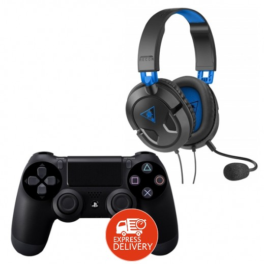 سوني – يد التحكم اللاسلكية Dualshock 4 + تيرتل بيتش – سماعة رأس لألعاب الفيديو