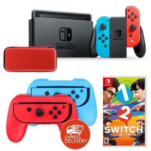 عرض جهاز نينتندو SWITCH مع JOY-CON ازرق و احمر (Dobe – غطاء ليد التحكم لنينتندو سويتش + لعبة + حقيبة)