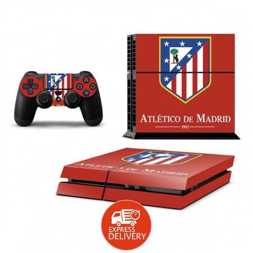 ستيكر ATLETICO MADRID لجهاز PS4  + عدد 2 ملصق ليدة التحكم M1