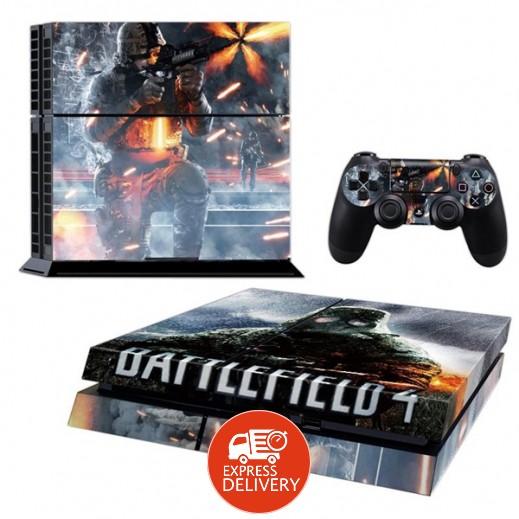 ستيكر BATTLEFIELD لجهاز PS4  + عدد 2 ملصق ليدة التحكم M1