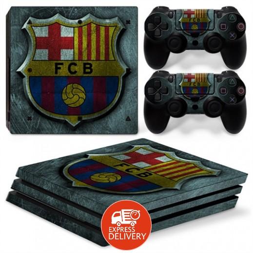 ستيكر لجهاز الألعاب بلاي ستيشن 4 Pro و 2 يد التحكم – برشلونة