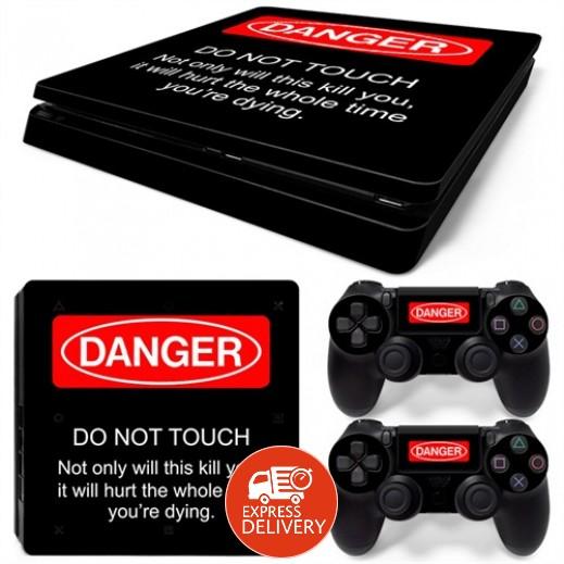ستيكر لجهاز الألعاب بلاي ستيشن 4 النحيف و 2 يد التحكم – دينجر