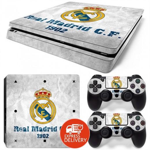 ستيكر لجهاز الألعاب بلاي ستيشن 4 النحيف و 2 يد التحكم – ريال مدريد