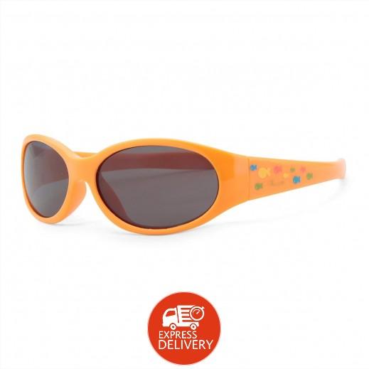 شيكو – نظارات شمسية للأولاد والبنات - نقشة كيدز فلو برتقالي - 12 شهر فما فوق