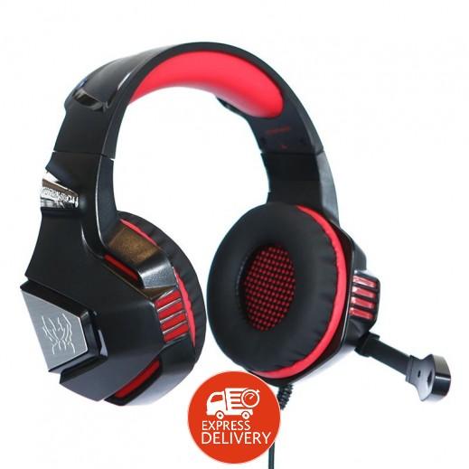 كوشن – سماعة رأس G7500 لألعاب الكمبيوتر مع إضاءة LED ومايك – احمر