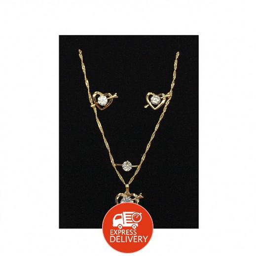 عنابي - طقم مجوهرات مطلي بالذهب 14 قيراط ومزين بالقلوب موديل GJWMGST013