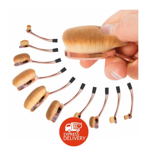 Rio Professional Microfibre Oval Cosmetic Brush Set Of 10