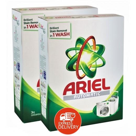 """آريال – مسحوق الغسيل الأخضر للغسالات الأوتوماتيك """" عطر أصلي """" 2×3 كجم"""