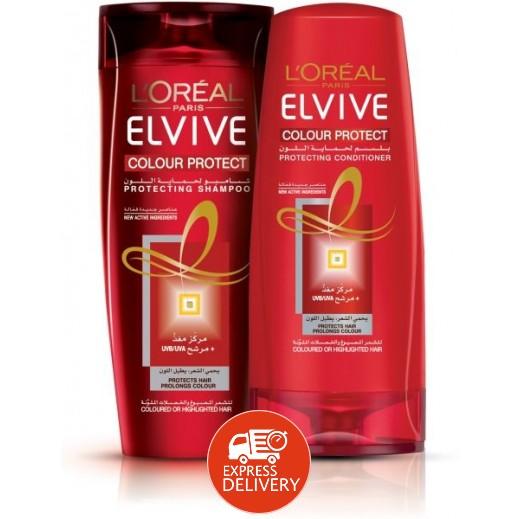 لوريال إلڤيڤ – شامبو لحماية لون الشعر 400 مل + بلسم 400 مل (33% خصم)