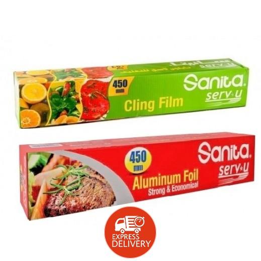 سانيتا - ألمونيوم تغليف حراري 450 ملم + نيلون شفاف لتغليف الأطعمة 450 ملم مجاناً