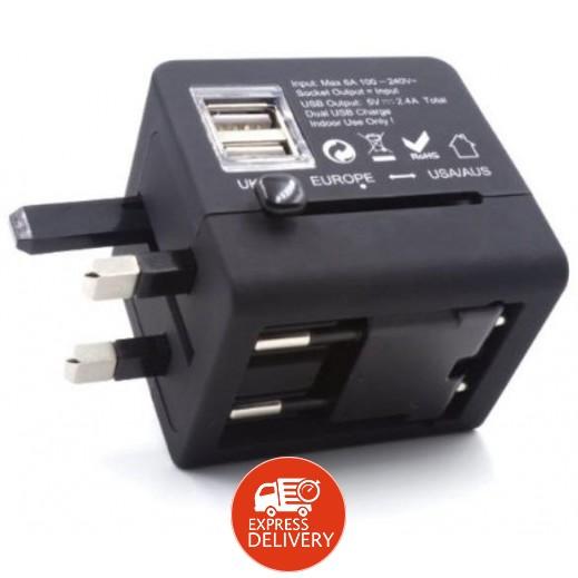 برودو – شاحن سفر ثنائي USB بقوة 3.4 أمبير – أسود