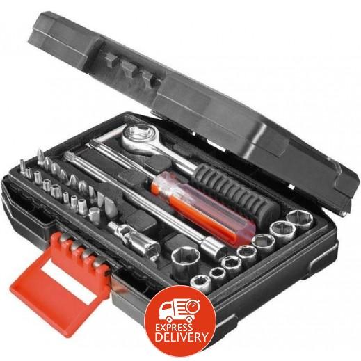 بلاك أند ديكر – صندوق أدوات يدوية لصيانة السيارات 31 قطعة