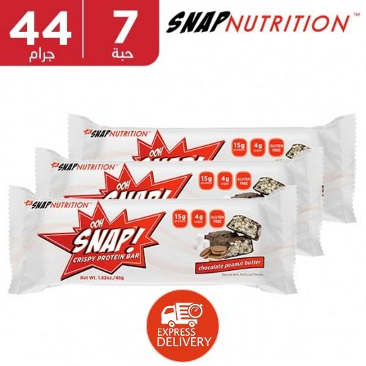 أوو سناب - لوح البروتين بالشوكولاتة وزبدة الفول السوداني 7 × 44 جم
