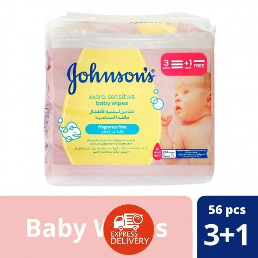 جونسون- مناديل بالغة الرقة للأطفال 224 قطعة (3+1 مجانا)