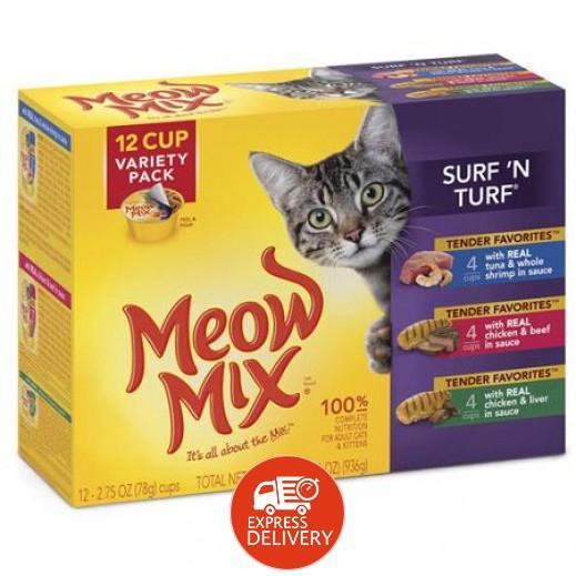 ميو ميكس – طعام القطط سورفين تورف بمكونات متعددة  12 حبة × 78 جم