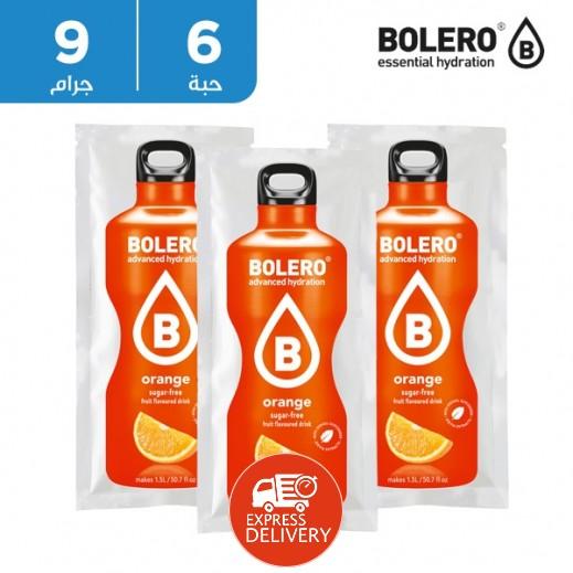 بوليرو  - شراب فوري خالٍ من السكر بنكهة البرتقال 6 × 9 جم