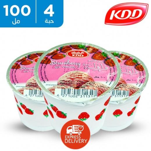 كي دي دي - آيس كريم فراولة 100 مل (4 حبة)