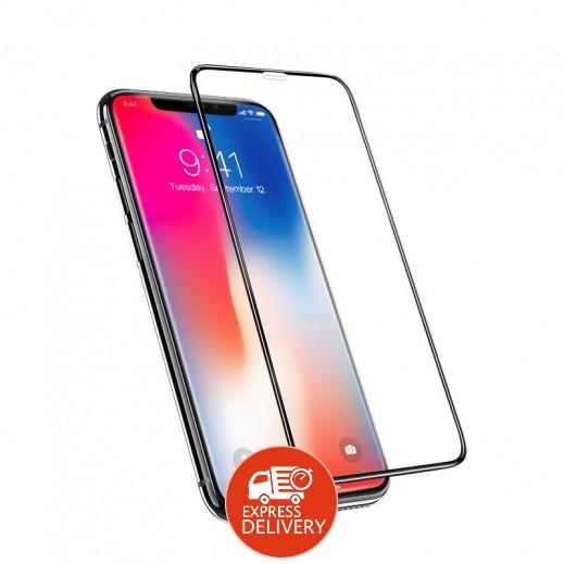 دڨيا – حماية شاشة زجاجي ثلاثي الابعاد ، غير مرئي ، مقاوم للغبار لهاتف ايفون XS / X – أسود