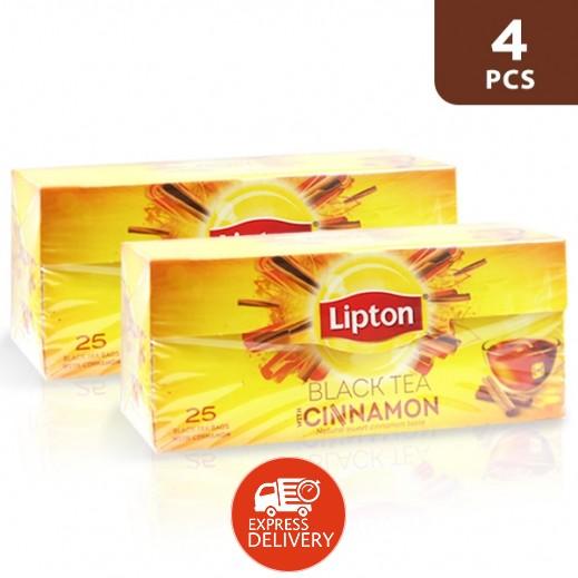 ليبتون - شاي العلامة الصفراء بنكهة الدارسين 4 × 25 كيس