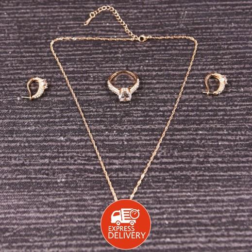 نيكسون – طقم مجوهرات زفاف من حجر الراين وكريستال الزيركون مطلي بالذهب عيار 18 موديل M01061