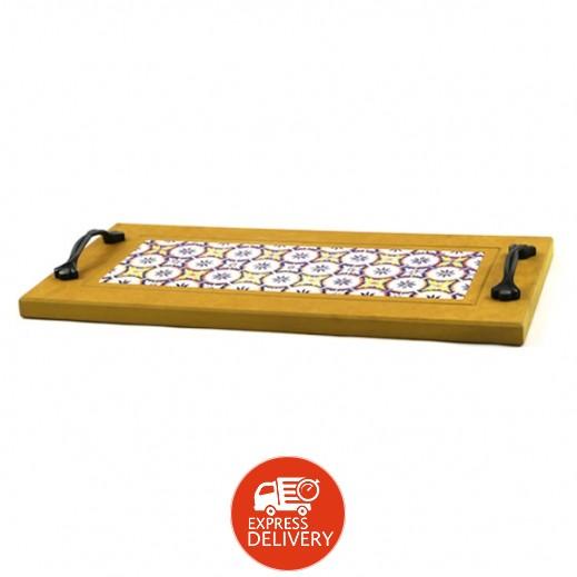 صينية تقديم خشبية مع قطع السيراميك - أصفر