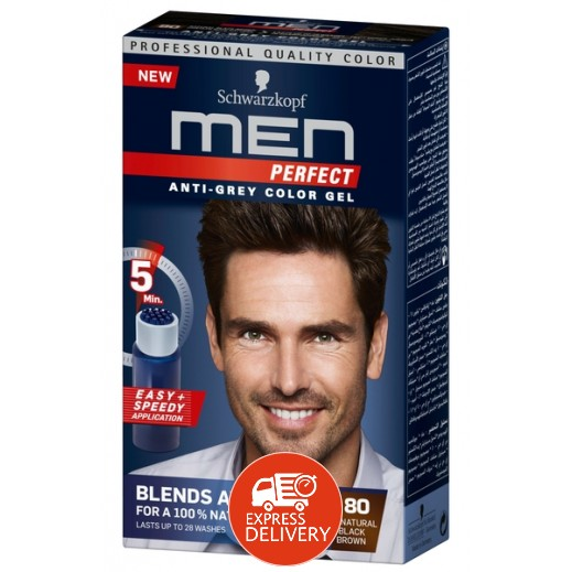 Men Perfect Anti Grey Toner Gel 80 Brown Black 115 ml