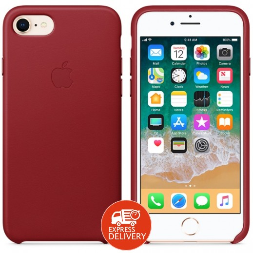 أبل – غطاء خلفي جلد لآيفون 8 –أحمر