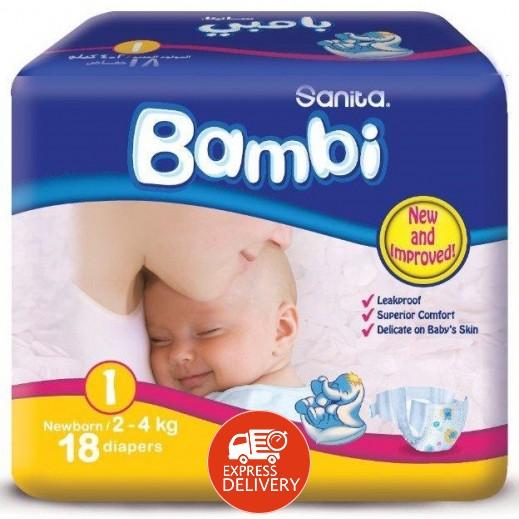 سانيتا – بامبي حفاضات أطفال مقاس (1) للمولود الجديد (2-4 كجم) – 18 حفاض