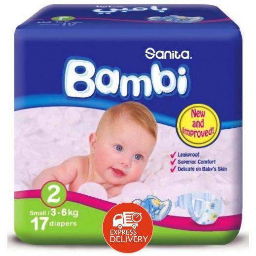 سانيتا – بامبي حفاضات أطفال مقاس (2) حجم صغير (3-6 كجم) – 17 حفاض