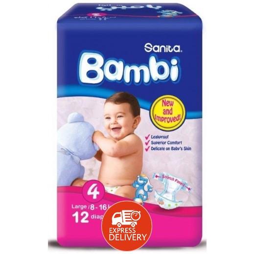 سانيتا – بامبي حفاضات أطفال مقاس (4) حجم كبير (8-16 كجم) – 12 حفاض