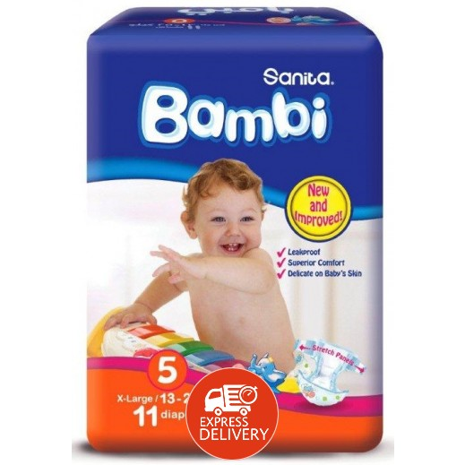 سانيتا – بامبي حفاضات أطفال مقاس (5) حجم كبير جداً (13-25 كجم) – 11 حفاض