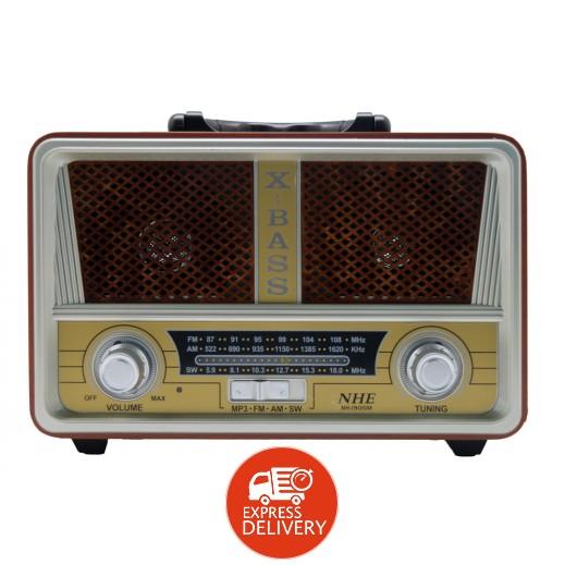 إن اتش اي – سماعات على شكل راديو قديم مع منفذ USB و AUX
