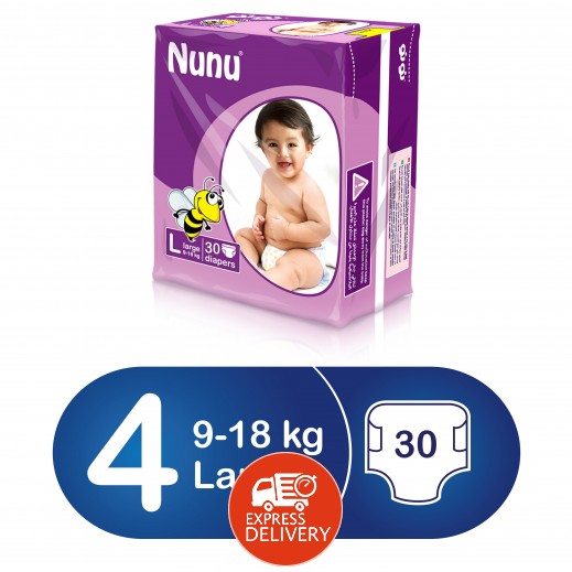 نونو – حفاضات أطفال حجم كبير (9 – 18 كجم) 30 حبة