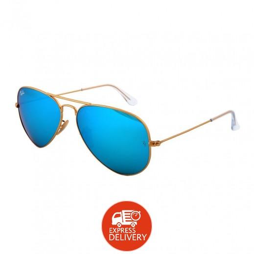 """راي بان – نظارة شمسية """"افياتور"""" لكلا الجنسين موديل Rb3025 أزرق فلاش 58 مم"""
