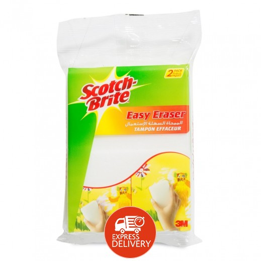 سكوتش برايت – ممحاة إسفنجية لتنظيف علامات أقلام التلوين  - 2 حبة