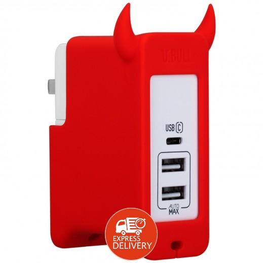 موماكس – شاحن 3 منافذ USB Type C – احمر